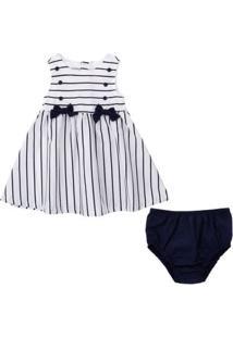 Vestido Estampado Laços Com Calcinha - Tricoline - Algodão - Branco - Minimi - P