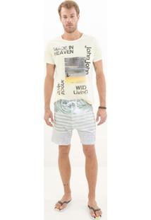 Bermuda John John D'Água Wallpaper Listrado Masculina (Listrado, 42)