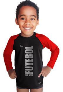Camisa Manga Longa Térmica Run Kids Preta