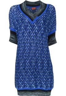 Missoni Vestido De Lã Com Decote Em V - Azul