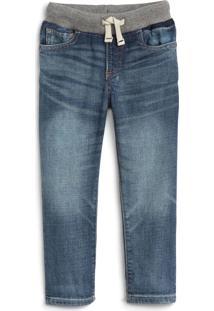 Calça Jeans Gap Infantil Jogger Estonada Azul