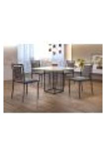 Conjunto De Mesa De Jantar Hera Com Tampo De Vidro Siena E 4 Cadeiras Grécia Ii Linho Cinza E Grafite