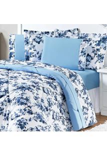 Jogo De Cama Enxovais Aquarela King 4 Peças Azul Floral Murano