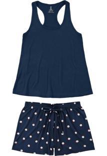 Pijama Azul Marinho Nadador Poá