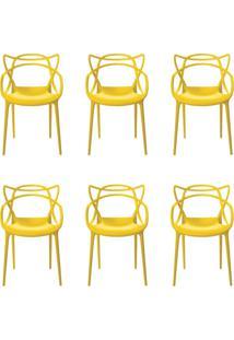 Kit 6 Cadeiras Decorativas Sala E Cozinha Feliti (Pp) Amarela - Gran Belo - Amarelo - Dafiti