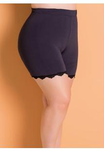 Short Anágua Preta Plus Size Marguerite
