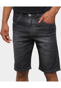 Bermuda Jeans Polo Wear Básica Masculina - Masculino-Preto
