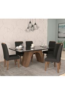Conjunto De Mesa Clara Para Sala De Jantar Com 6 Cadeiras Taís Moldura -Cimol - Marrocos / Preto / Sued Preto