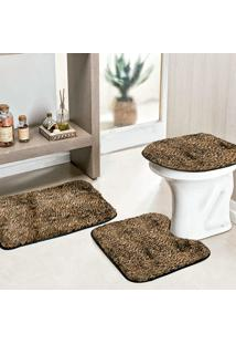 Jogo Banheiro Dourados Enxovais Safari Standard 3 Pecas Onça Pintada