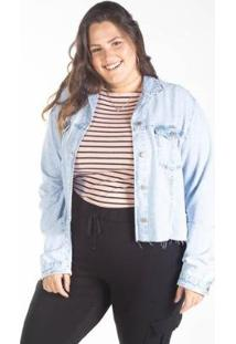Jaqueta Jeans Cropped Plus Barra Desfiada Besni Feminina - Feminino-Azul+Off White
