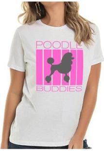 Camiseta Poodle Buddies Feminina - Feminino-Branco