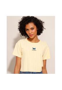 Camiseta Cropped Com Bordado Borboleta Manga Curta Decote Redondo Amarela Claro