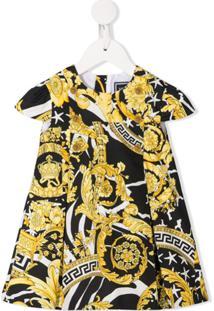Young Versace Vestido Com Pregas Estampado - Amarelo