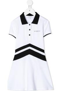 Givenchy Kids Vestido Polo Mangas Curtas Com Logo - Branco