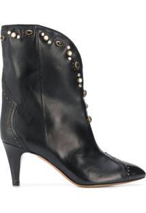 Isabel Marant Ankle Boot Dythey Com Salto 75Mm E Aplicações - Preto