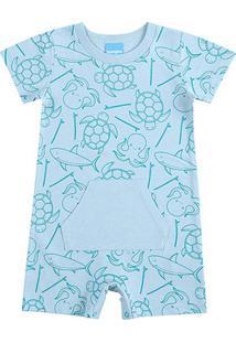 Body Banho De Sol Bebê Kamylus Animais Marinhos - Masculino-Azul