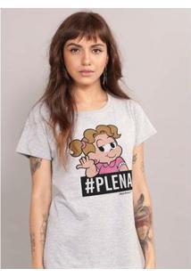 Camiseta Bandup! Turma Da Mônica Denise #Plena - Feminino-Cinza
