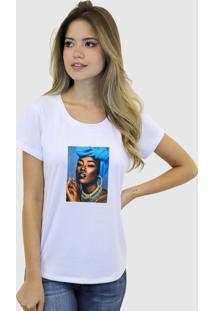 Camiseta Baby Look Feminina Basica Suffix Branca Estampa Tecido Sobreposto Negra Colar Strass Gola Redonda - Tricae