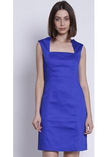 Vestido Com Recorte Vazado - Azul Escuromoiselle