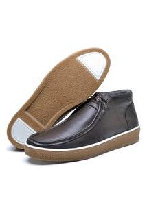 Sapato Cacareco Fepo Store Em Couro Palmilha Espumada Liso Marrom