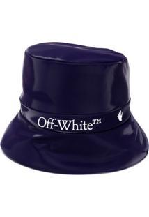 Off-White Chapéu Bucket Com Estampa De Logo E Acabamento De Brilho - Azul