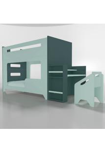 Conjunto Lumi - Beliche+Escrivaninha Verde Timber - Verde - Dafiti