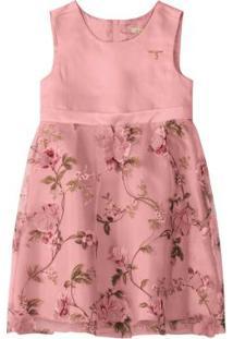 Vestido Rosa Floral Em Cetim