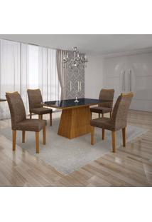 Conjunto Sala De Jantar Mesa Tampo Mdf/Vidro Preto E 4 Cadeiras Pampulha Leifer Imbuia Mel/Linho