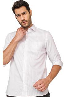 Camisa Vr Reta Listrada Branca/Vermelha