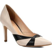 75a8383c5 Scarpin Couro Shoestock Salto Alto Bicolor - Feminino-Off White+Preto