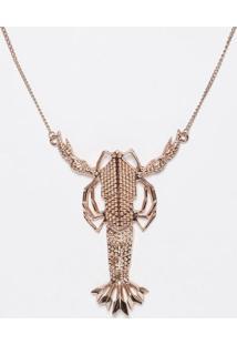 Colar Metalizado Lagosta- Dourado- 64X11,5X9,5Cmeva