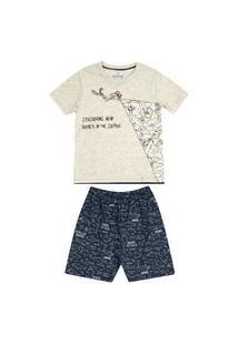 Pijama Juvenil Abrange Tubarão Mescla E Azul Marinho Abrange Casual Cinza