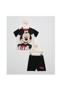 Pijama Infantil Mickey Manga Curta Off White