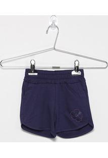 Shorts Infantil For Girl Moletinho C/ Strass Feminino - Feminino-Marinho