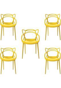Kit 5 Cadeiras Decorativas Sala E Cozinha Feliti (Pp) Amarela - Gran Belo - Amarelo - Dafiti