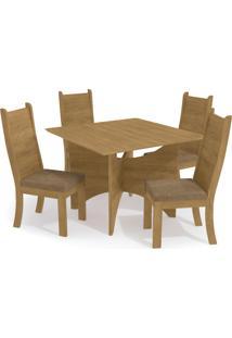 Conjunto Mesa Camomila C/ 4 Cadeiras Freijã³/Caramelo Kappesberg - Caramelo - Dafiti