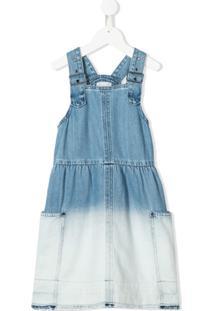 Stella Mccartney Kids Vestido Jeans Com Efeito Desbotado - Azul