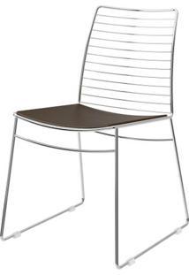 Cadeira 1712 Cromado Com Assento Courissimo Cacau - 27674 - Sun House