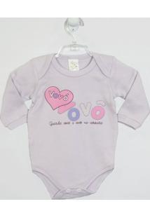 Body Bebê Manga Longa Vovó E Vovô - Feminino