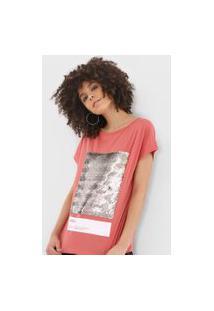 Camiseta Sommer Paetês Rosa