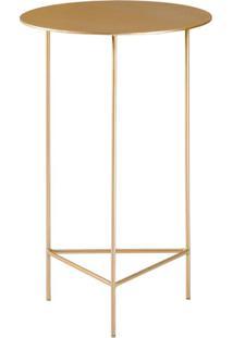 Mesa De Apoio Plate 40Cm Alta Aço Dourado - Gran Belo