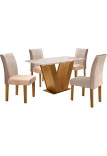 Conjunto De Mesa De Jantar Com 4 Cadeiras Classic Suede L Off White E Bege