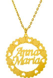 Gargantilha Pingente Mandala Manuscrito Anna Maria Banho Ouro 18 K - 1060229 - Kanui