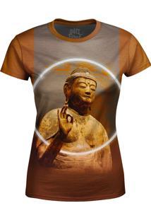 Camiseta Baby Look Buda Over Fame Marrom