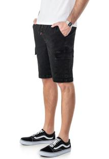 Bermuda Preta Jogger Jeans