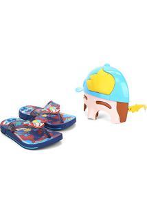 Chinelo Infantil Grendene Luccas Neto Mask Super Flop - Masculino-Azul+Vermelho