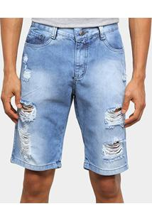 Bermuda Jeans Ecxo Rasgos Masculina - Masculino-Azul