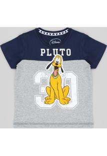 d96df0bcf2fe8 Camiseta Infantil Raglan Pluto Com Recorte Manga Curta Gola Careca Azul  Marinho