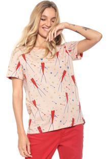 Camiseta Cantão Mullet Estampada Rosa