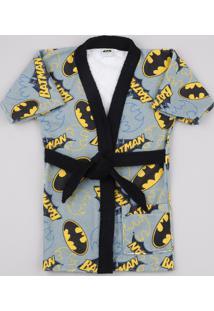 Roupão Infantil Atoalhado Batman Cinza